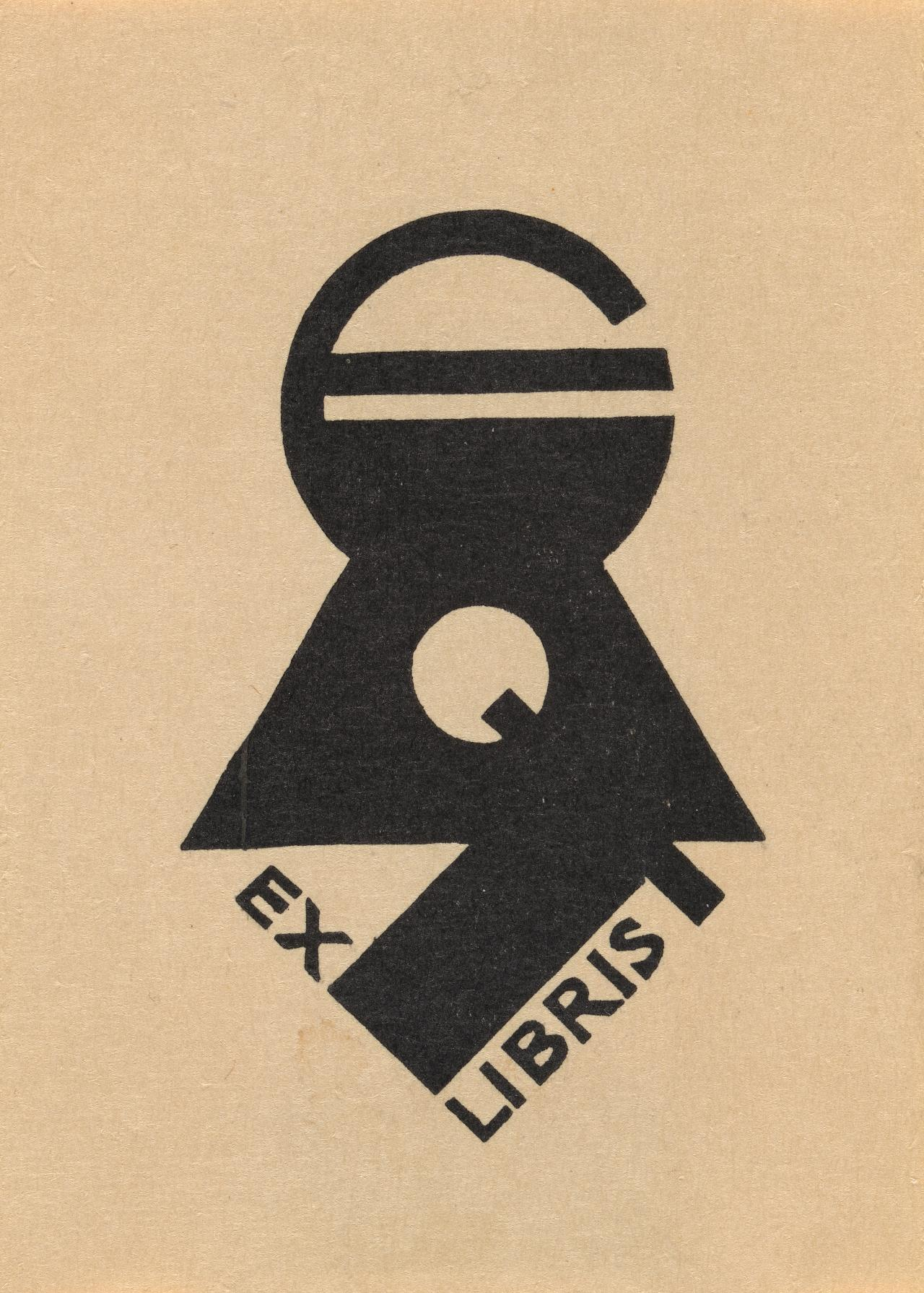 Bookplate: Eric Thake (Initials E.A.T. forming padlock design)