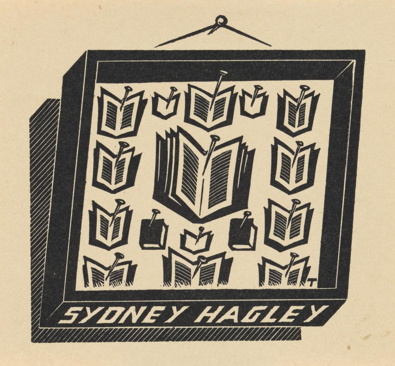 Bookplate: Sydney Hagley (Framed collection of books, pinned as specimens)