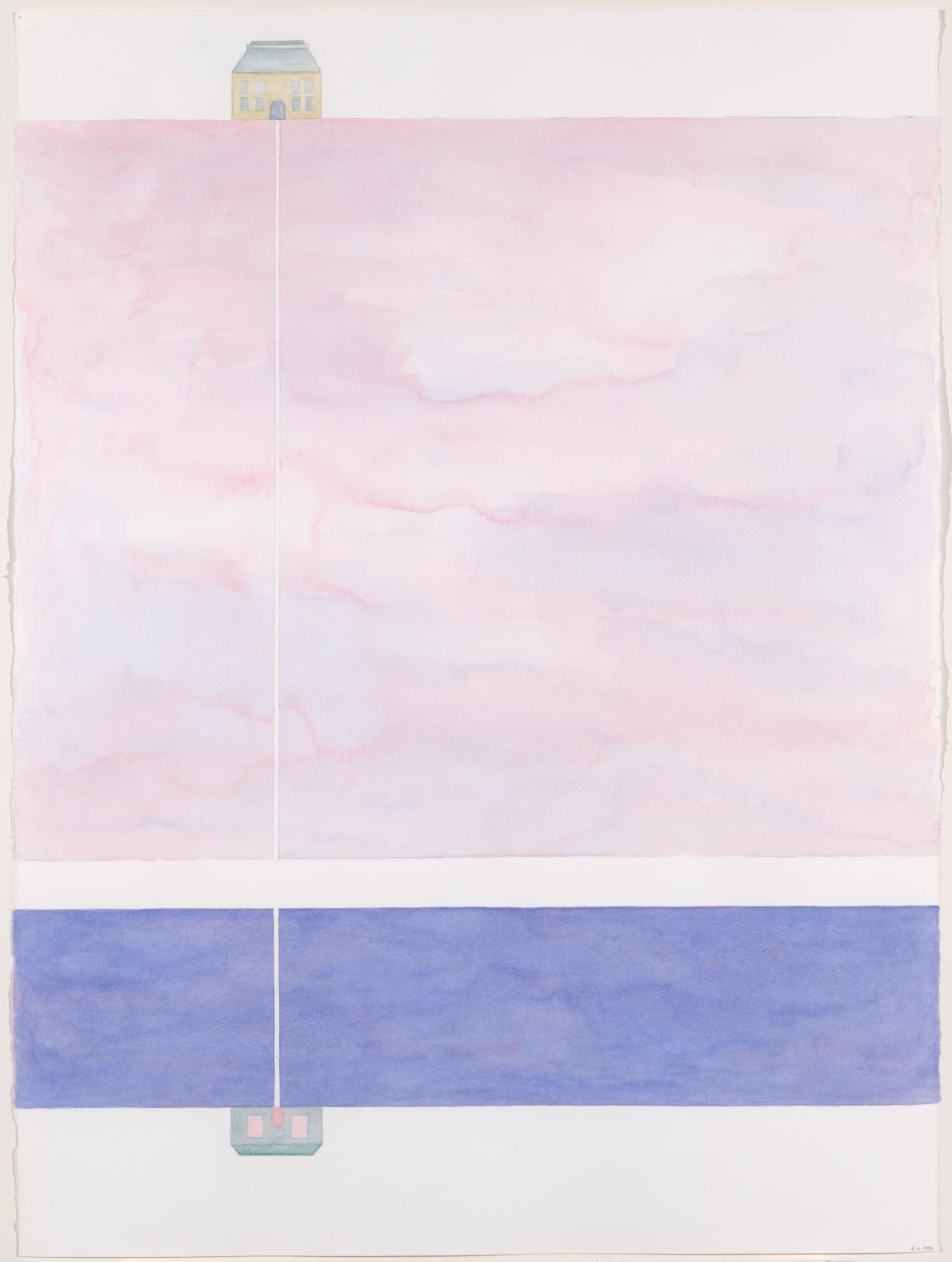 Straight line across two spaces - pink Seine and blue sky