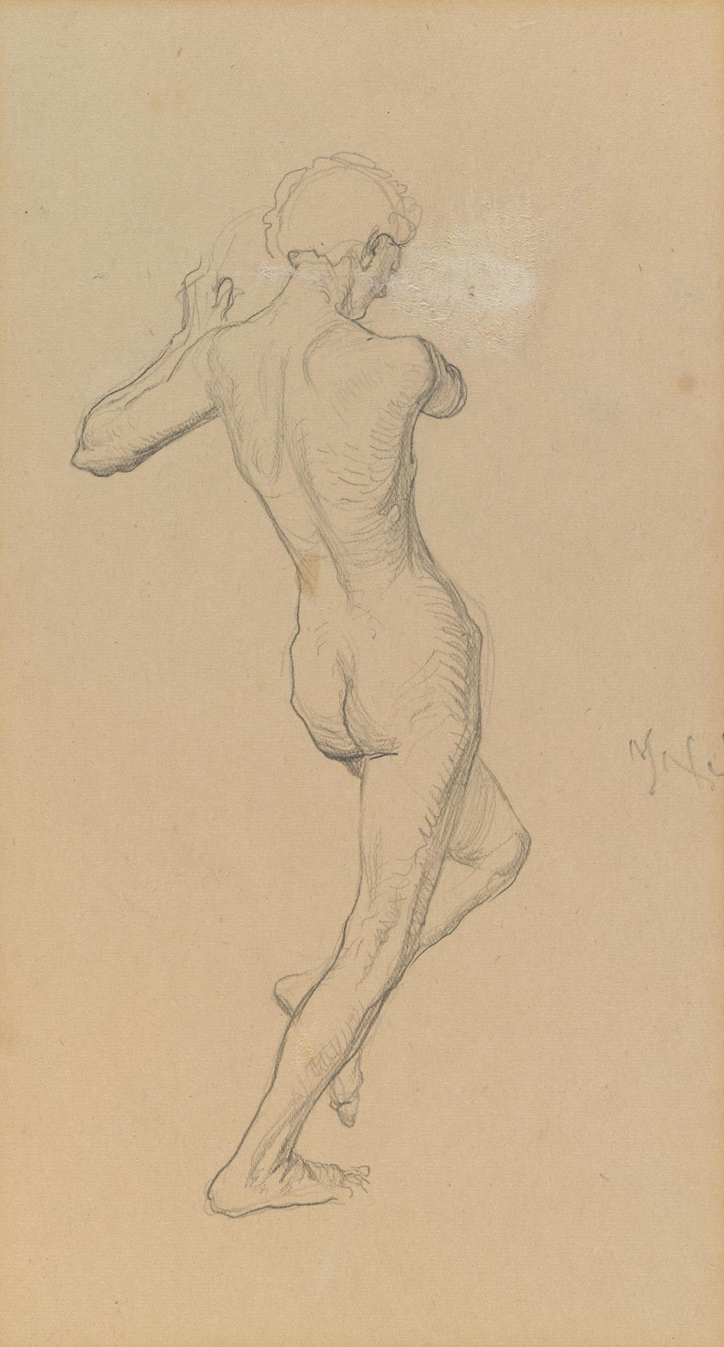Study for the Myer Murals (rear view of standing naked figure)