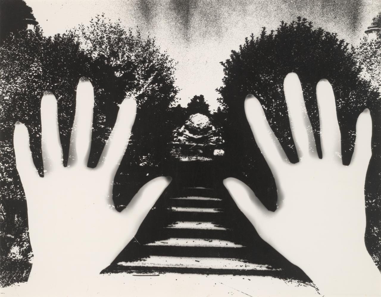 No title (Photogram of two hands and garden path)