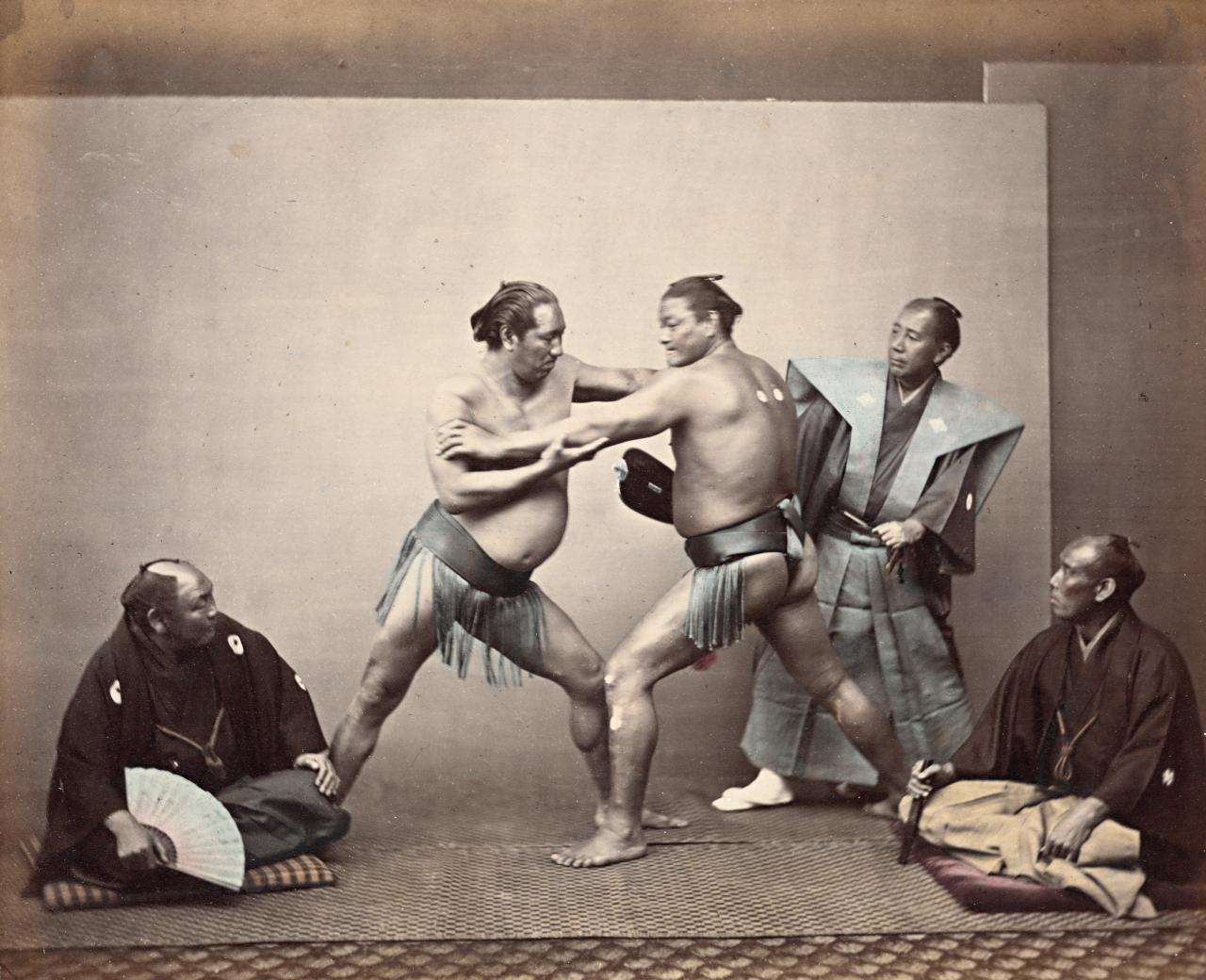 No title (Sumo wrestlers and umpire)