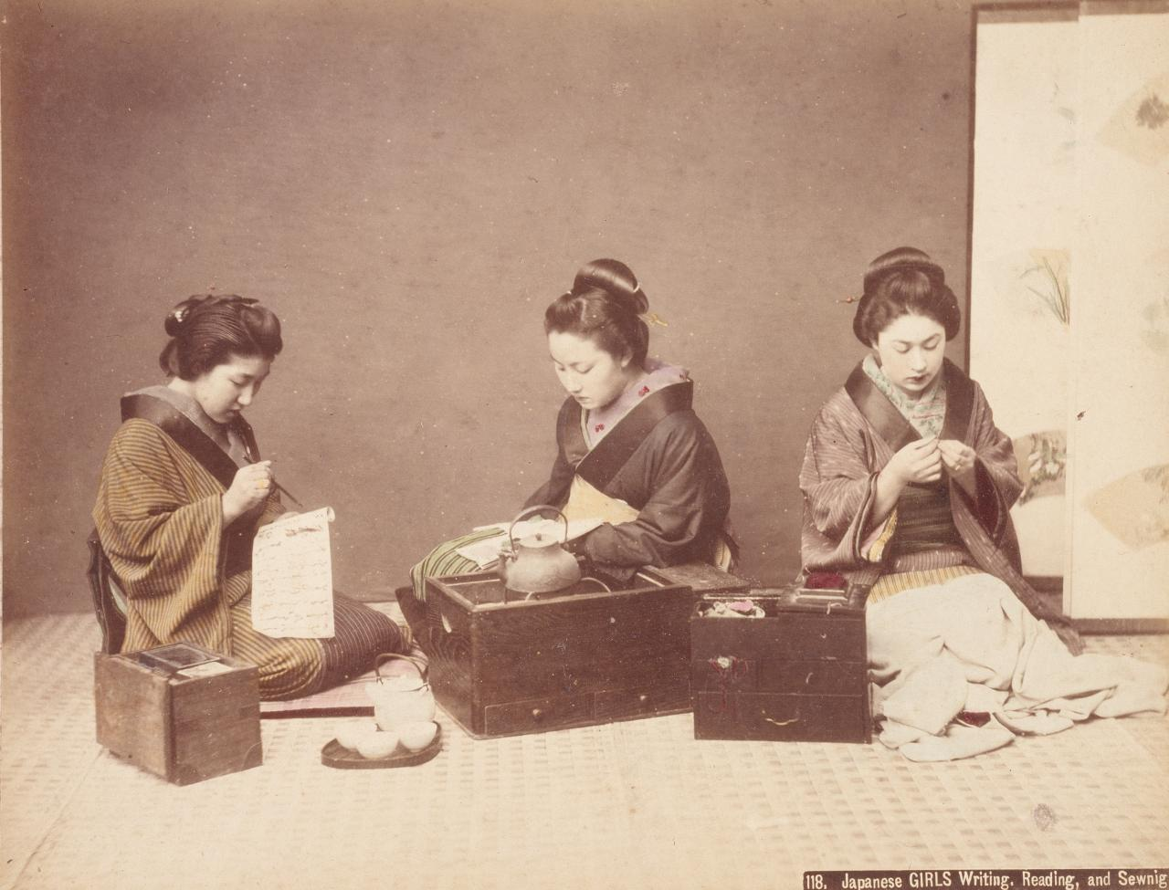 Japanese girls writing, reading and sewing