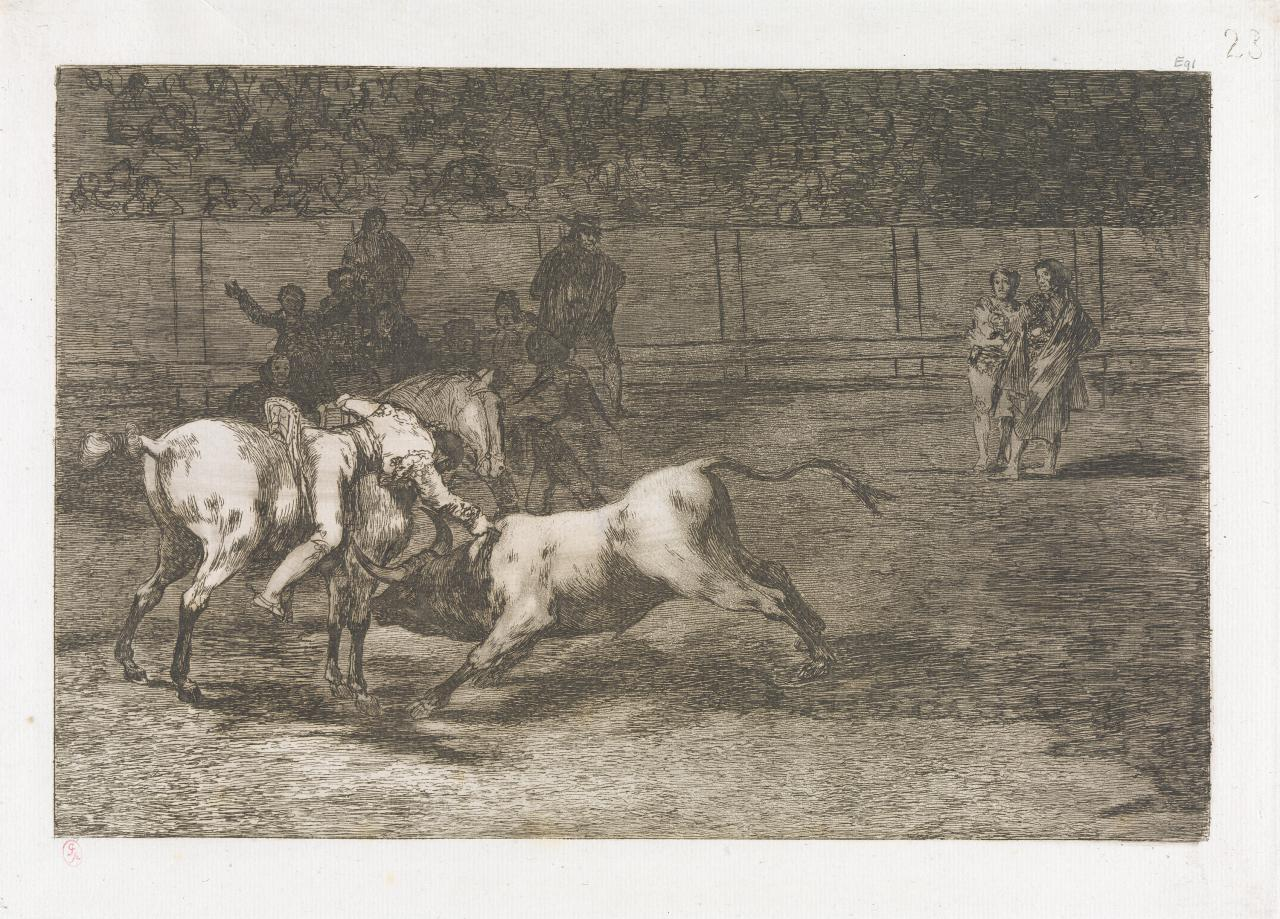 Mariano Ceballos, alias The Indian, kills the bull from his horse