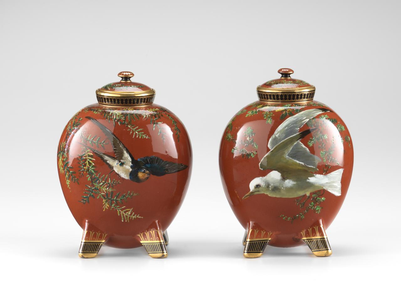 Pair of lidded moonflasks