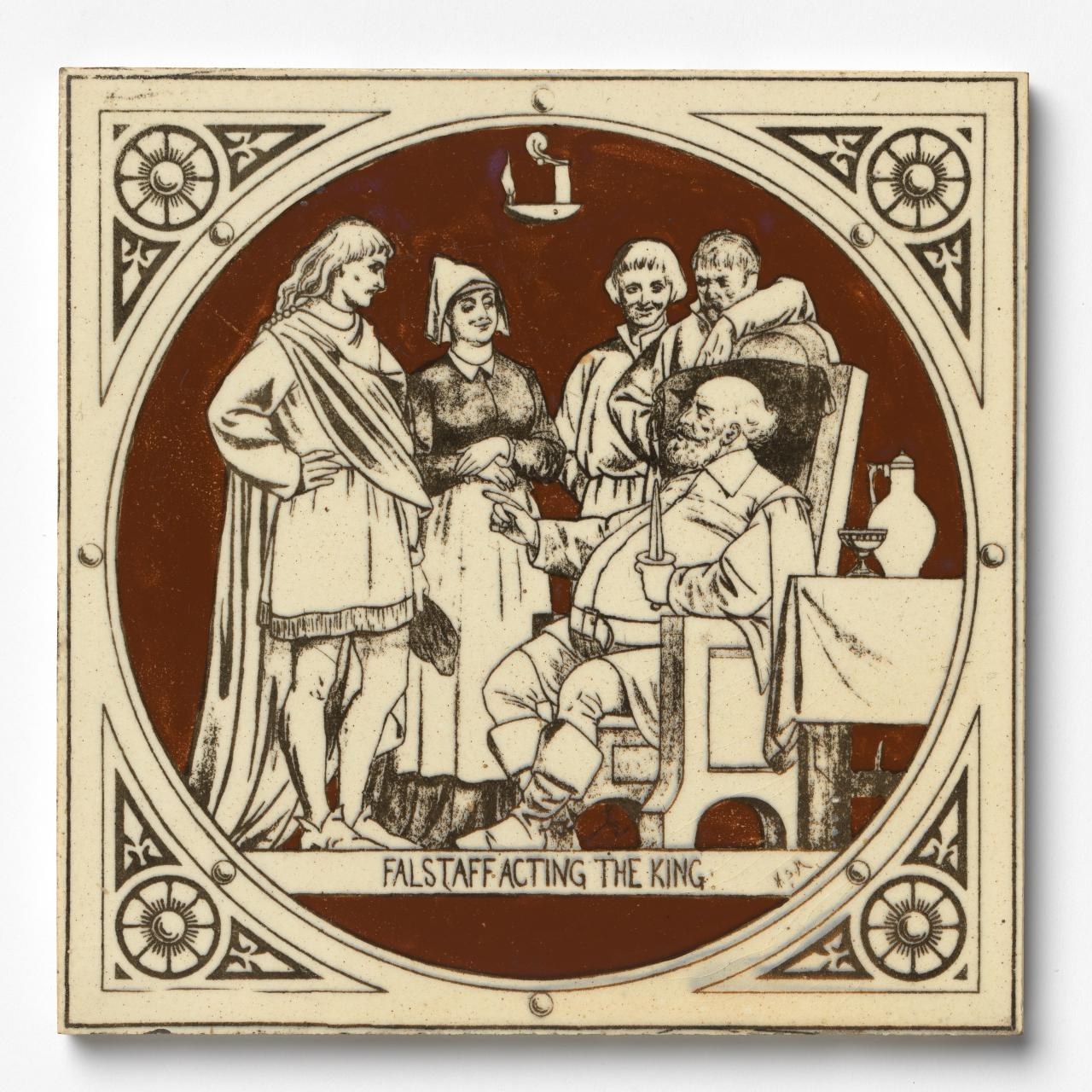 Falstaff acting the king, tile
