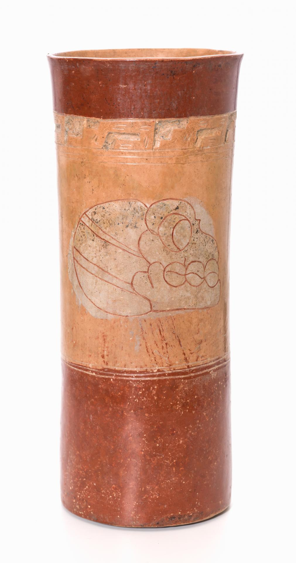 Resist-painted vase with glyphic skull design