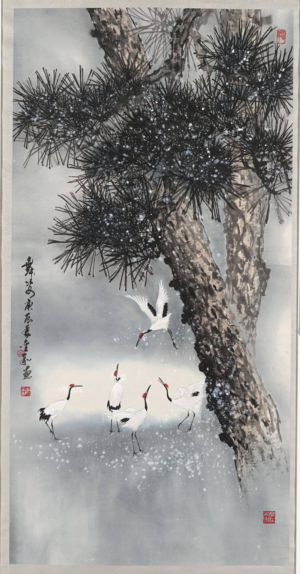 Pine with cranes dancing in the snow, dance in motion
