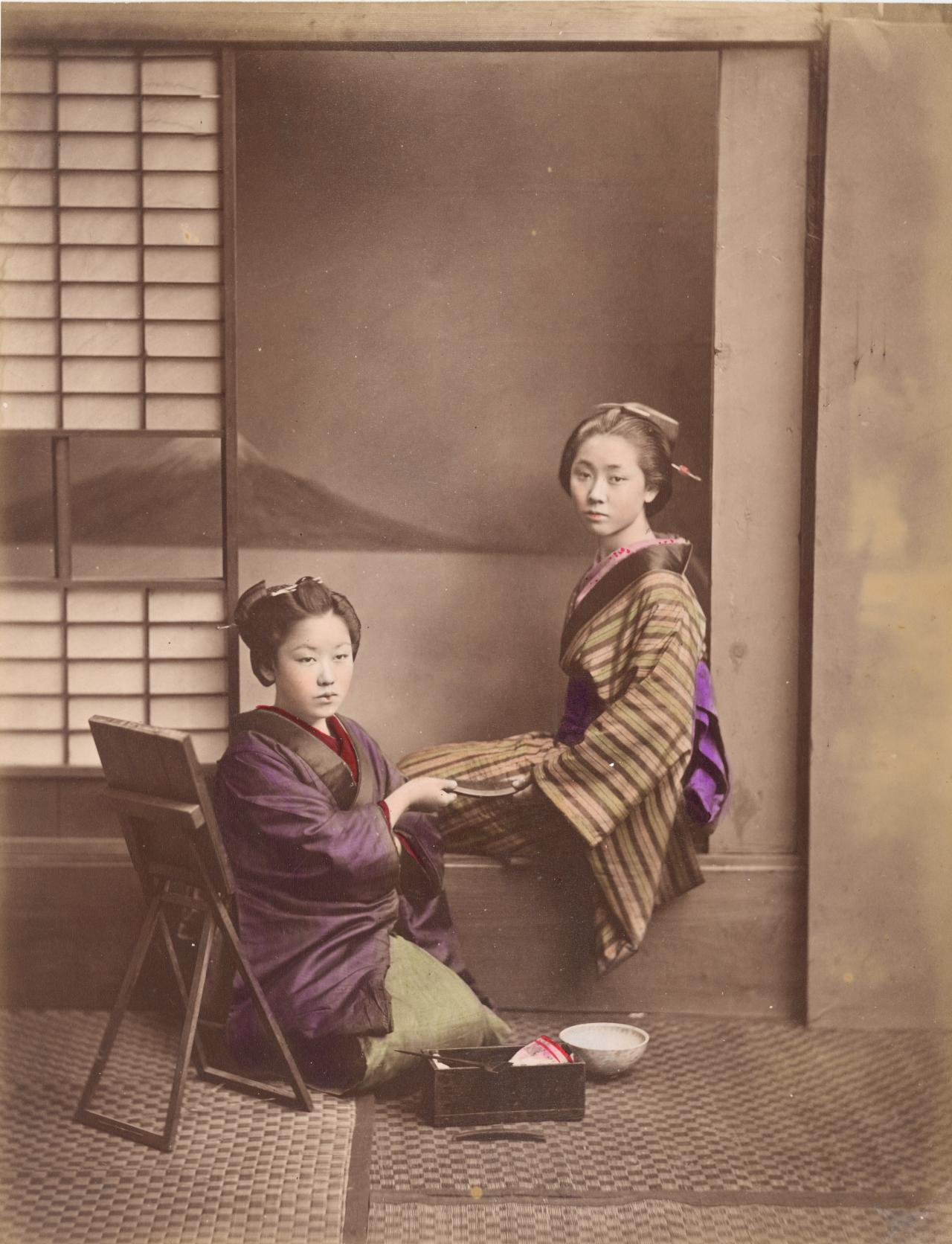 No title (Two Japanese women holding a comb)