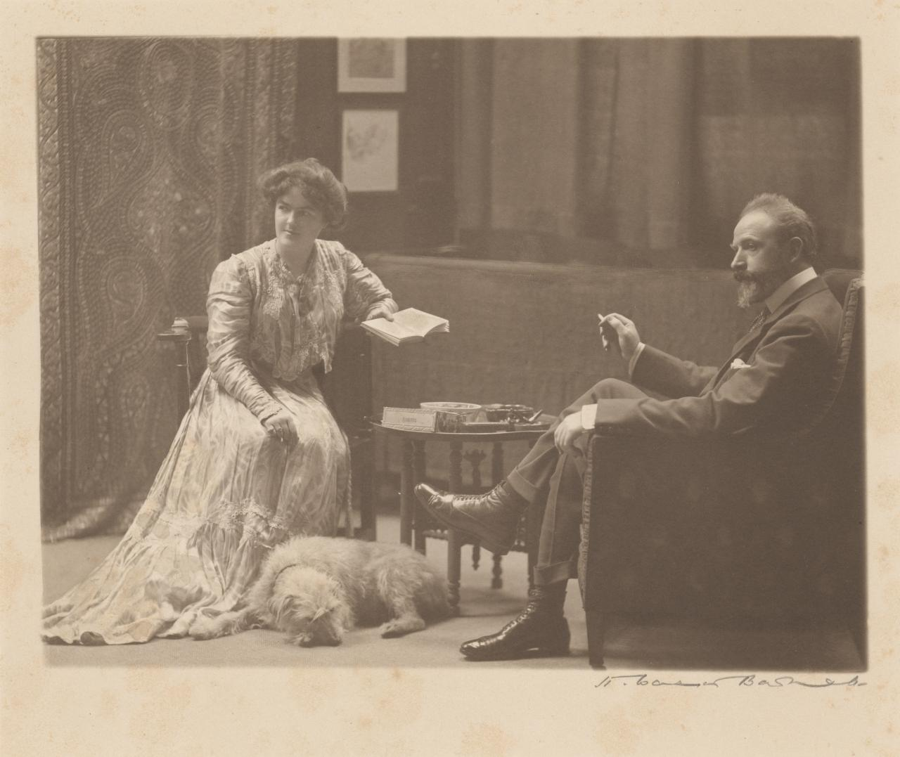 Arthur Streeton with Nora Streeton and Pat the dog