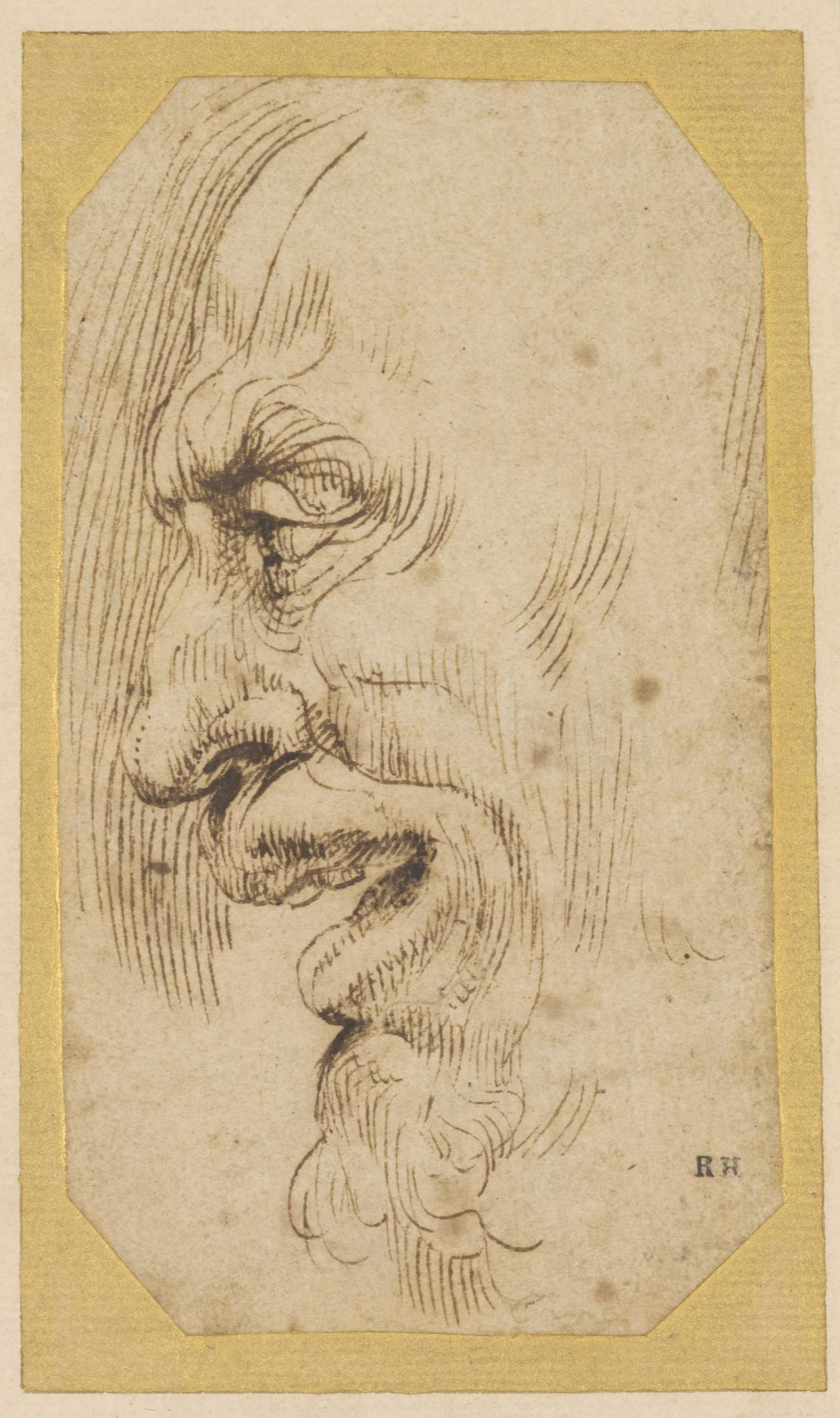 Head of an old man, facing left