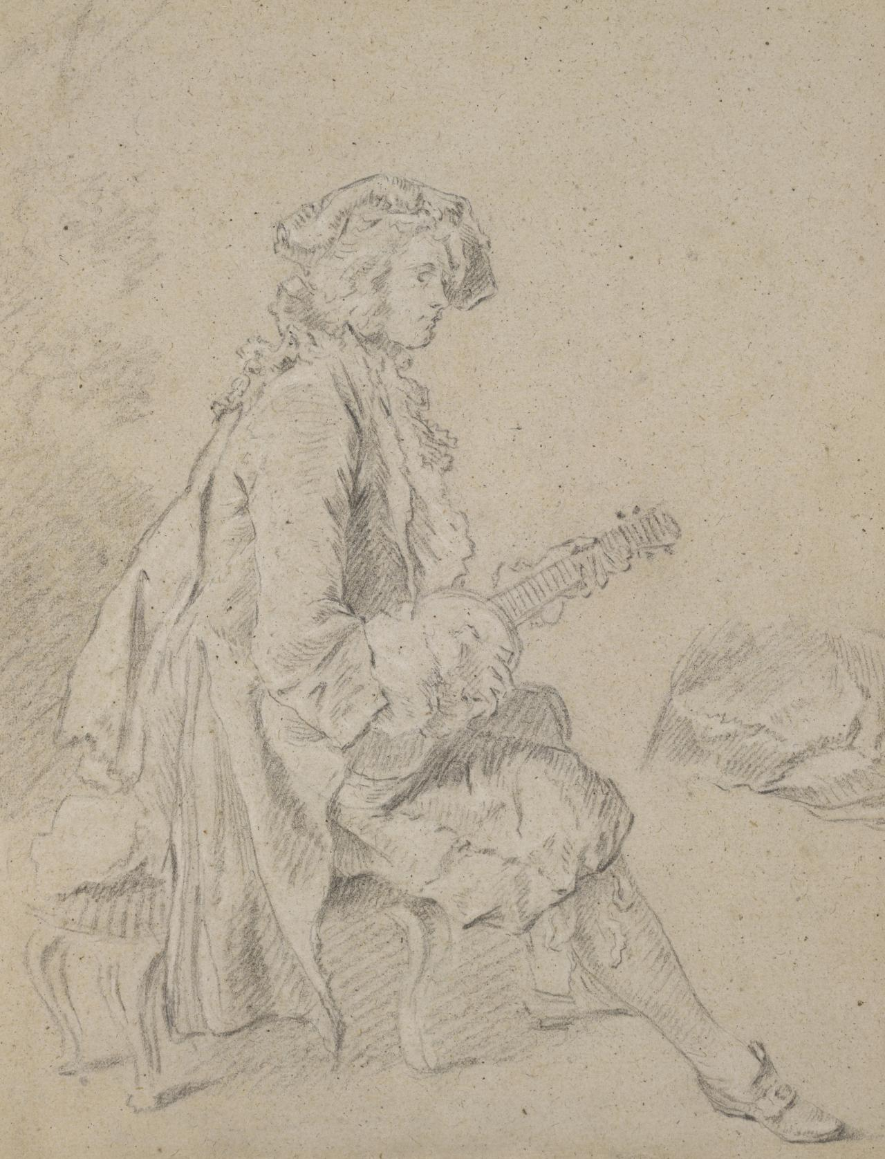 Young man seated, playing a lute