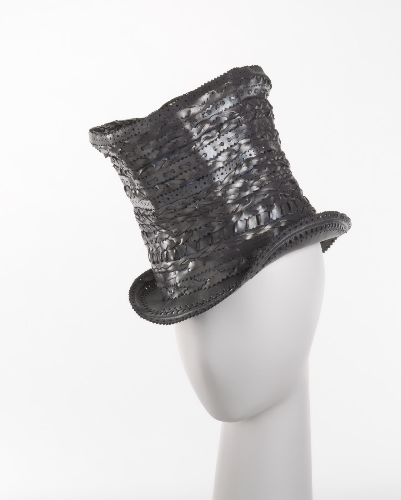 Tooled leather top hat