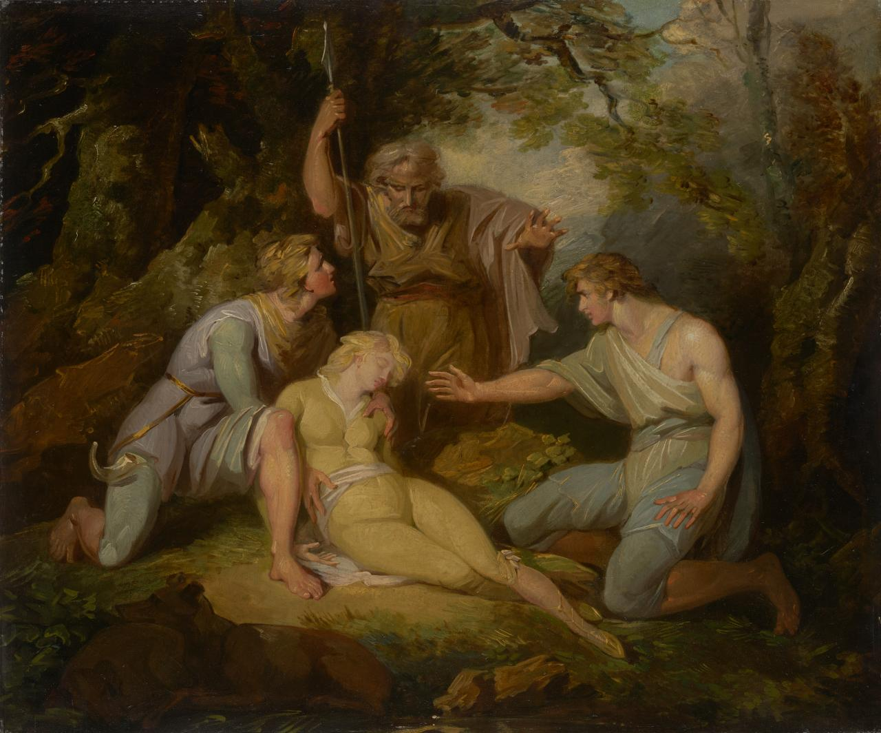Imogen found by Arviragus, Belarius and Guiderus in the forest