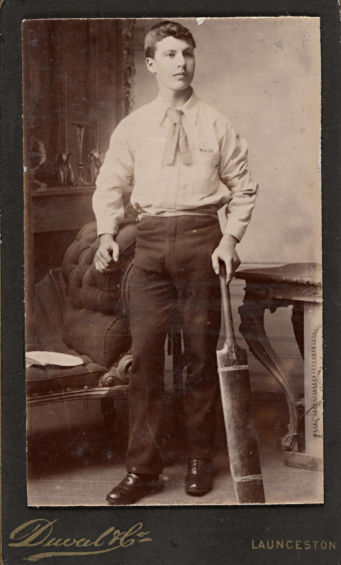 No title (Young cricketer leaning on his bat), carte-de-visite