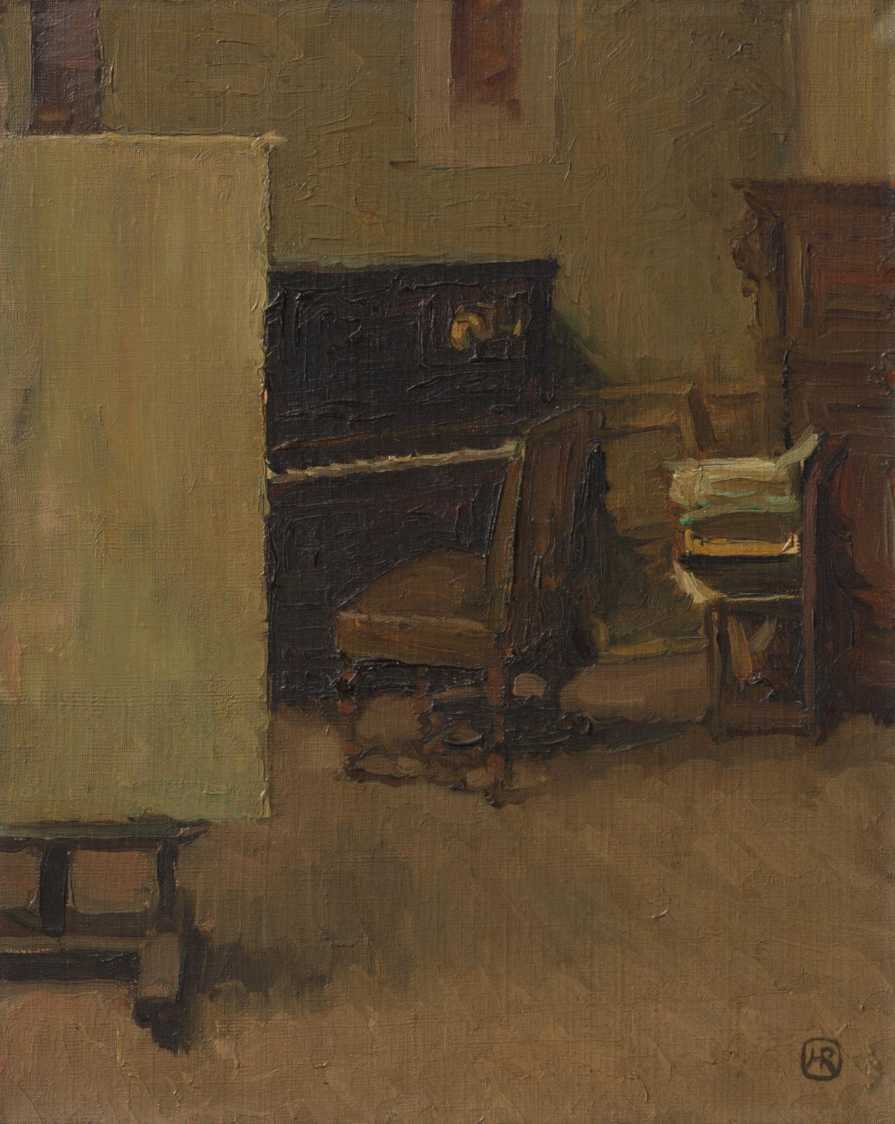 (Interior of artist's studio)