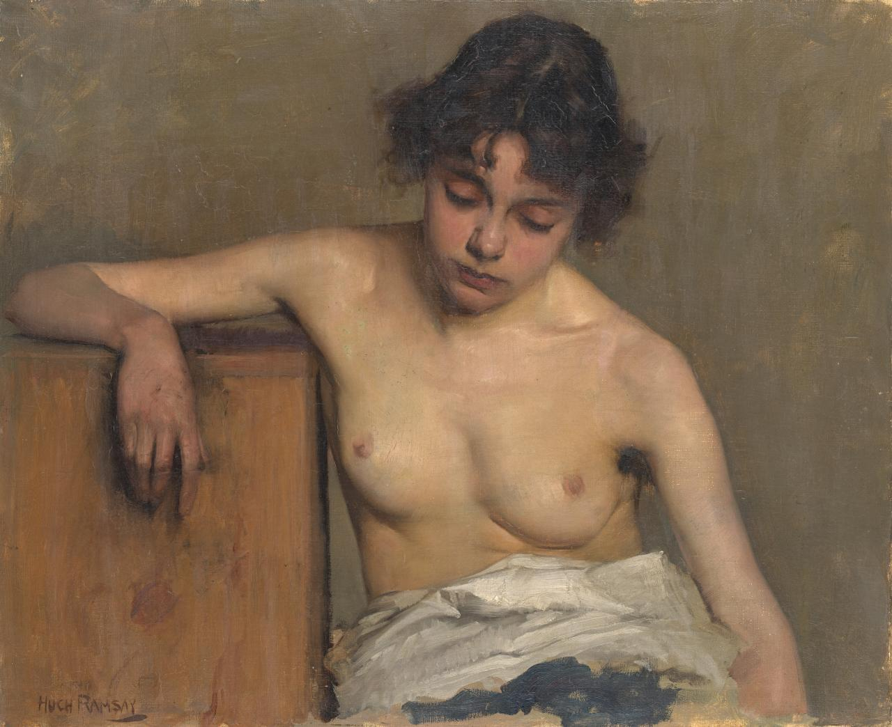 (Study of a girl, half-nude, leaning on box)