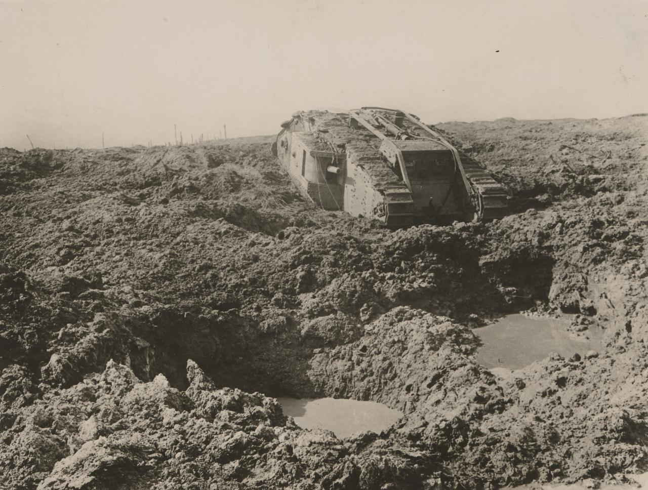 No title (Disabled tank in mud)