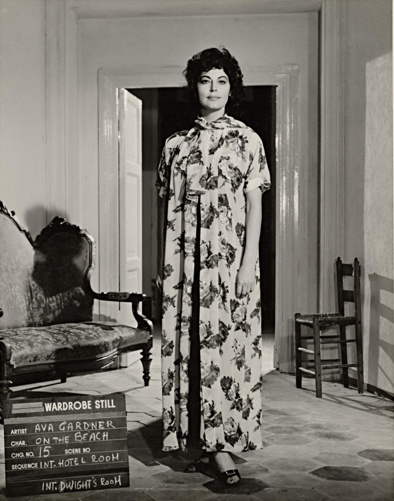 No title (Ava Gardner in wardrobe still for On the beach: Hotel room and Dwight's room)