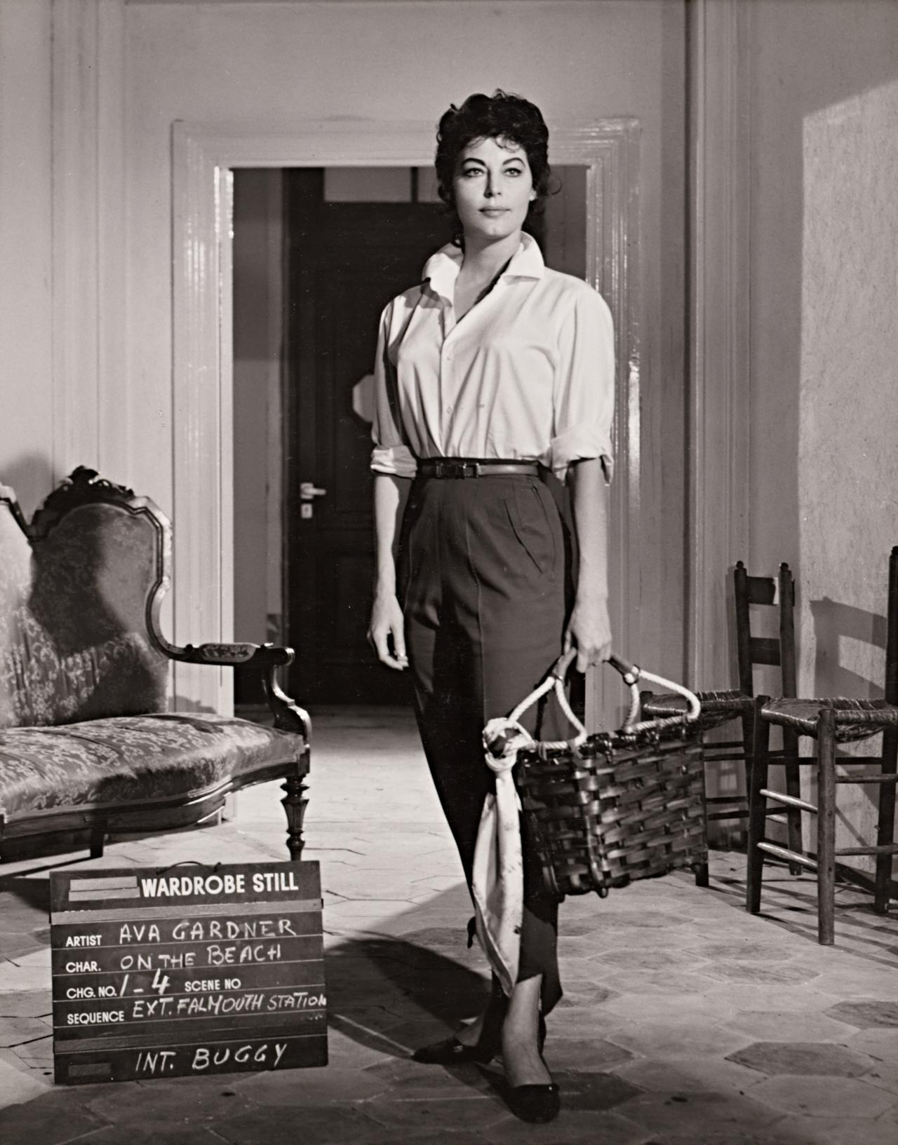 No title (Ava Gardner in wardrobe still for On the Beach: Falmouth Station and buggy)