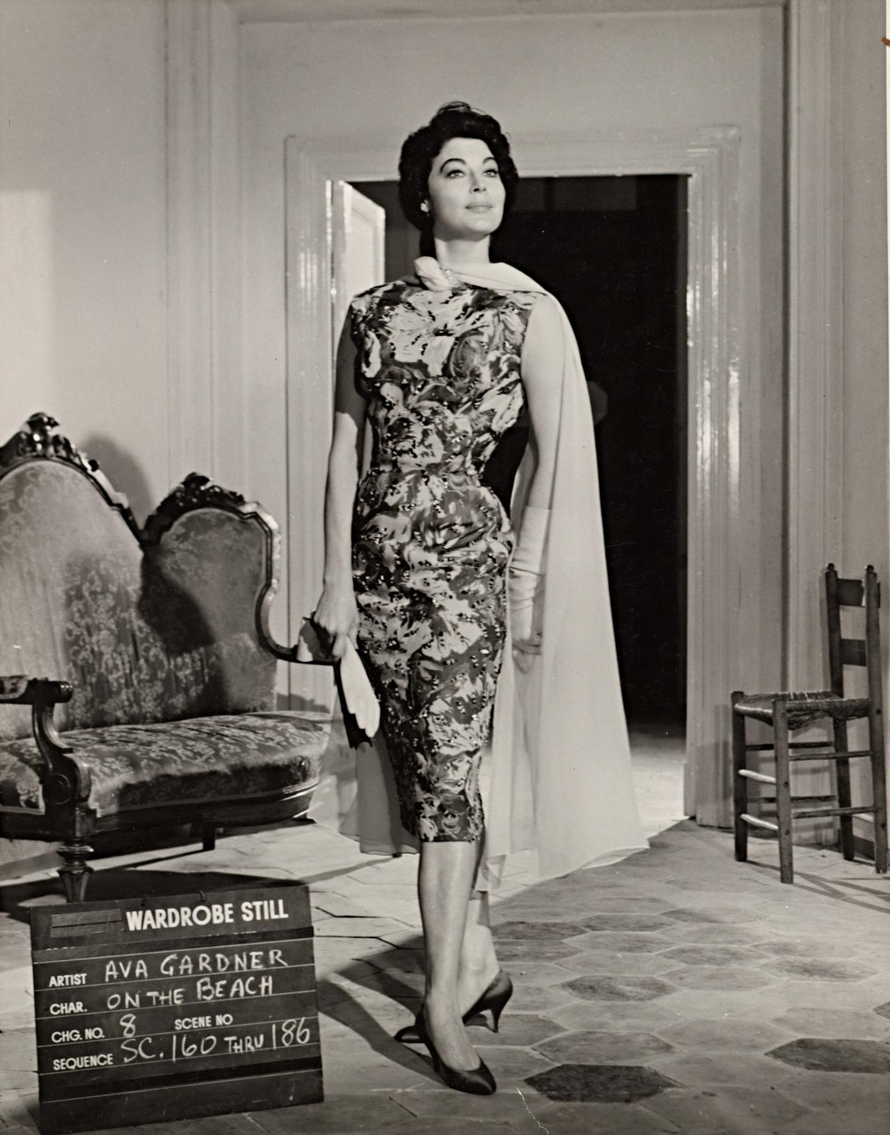 No title (Ava Gardner in wardrobe still for On the beach: Dress, cape and gloves)