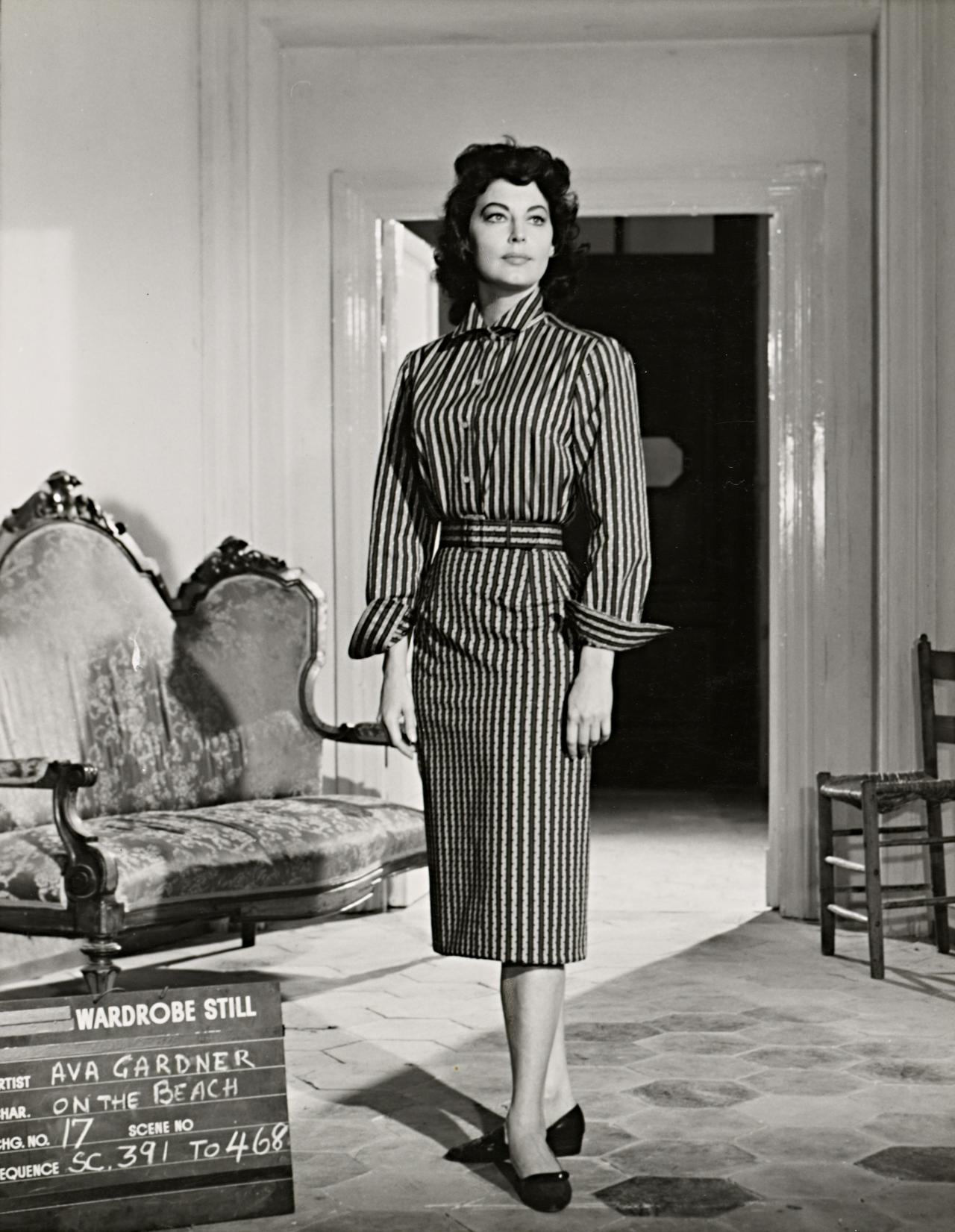 No title (Ava Gardner in wardrobe still for On the beach: Striped dress)