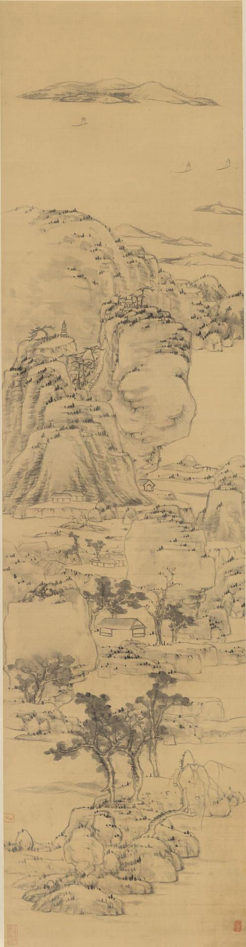 Landscape in the style of Ni Zan, (1301-1374)