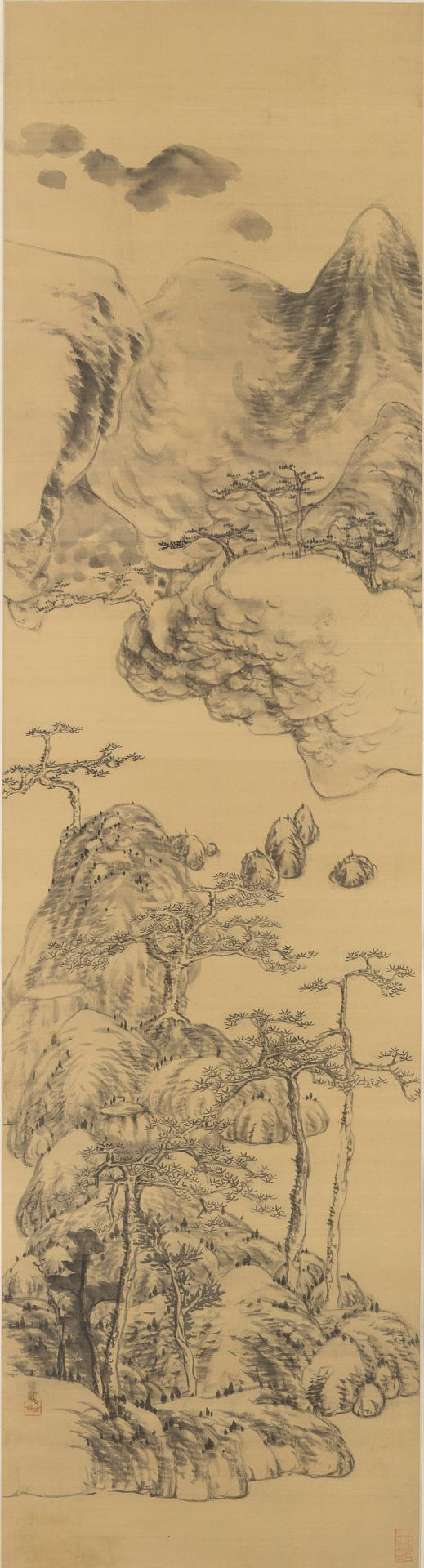 Landscape in the style of Wu Zhen, (1280-1354)