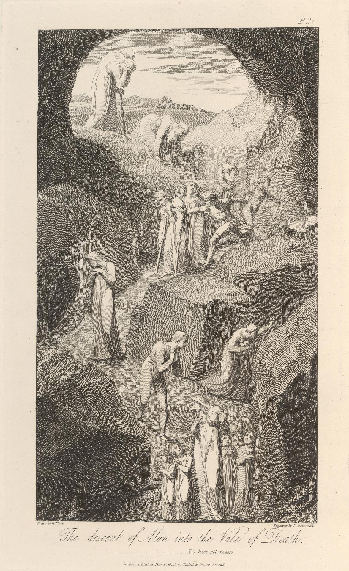Fine Art Print The Grave A Family Meeting in Heaven William Blake Engravings