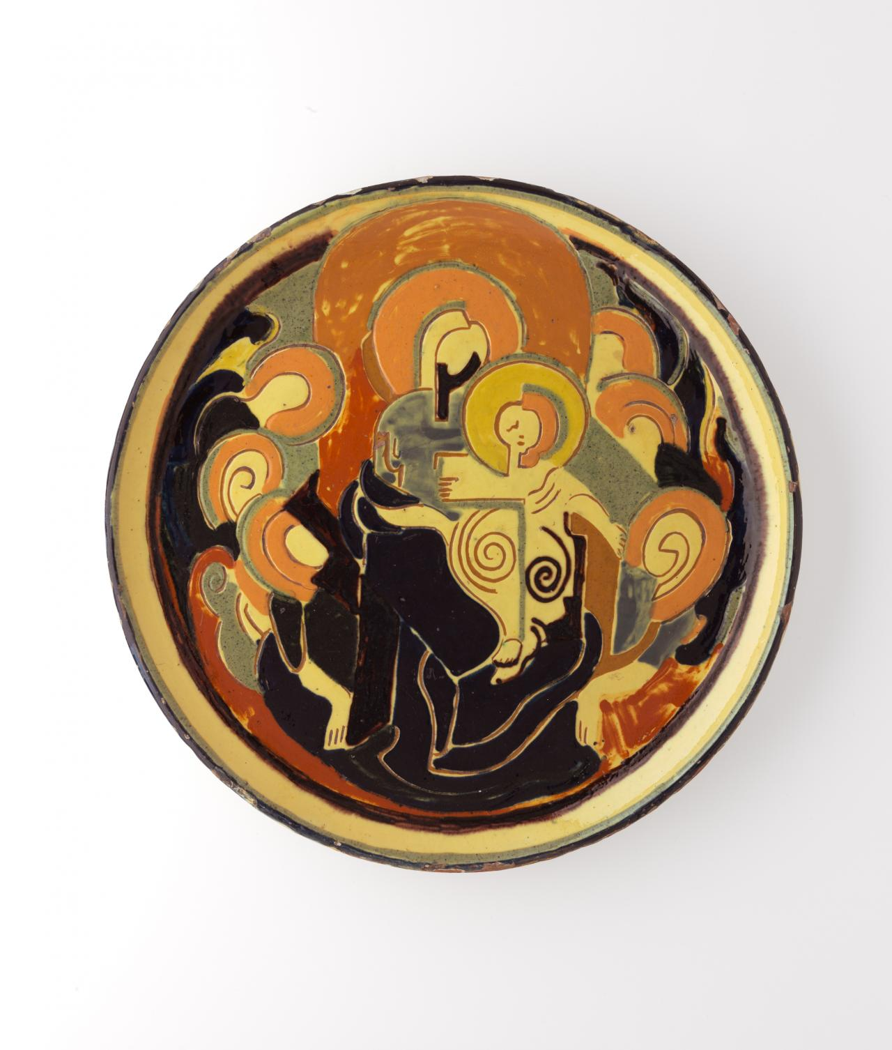 Virgin with Child surrounded by angels, platter