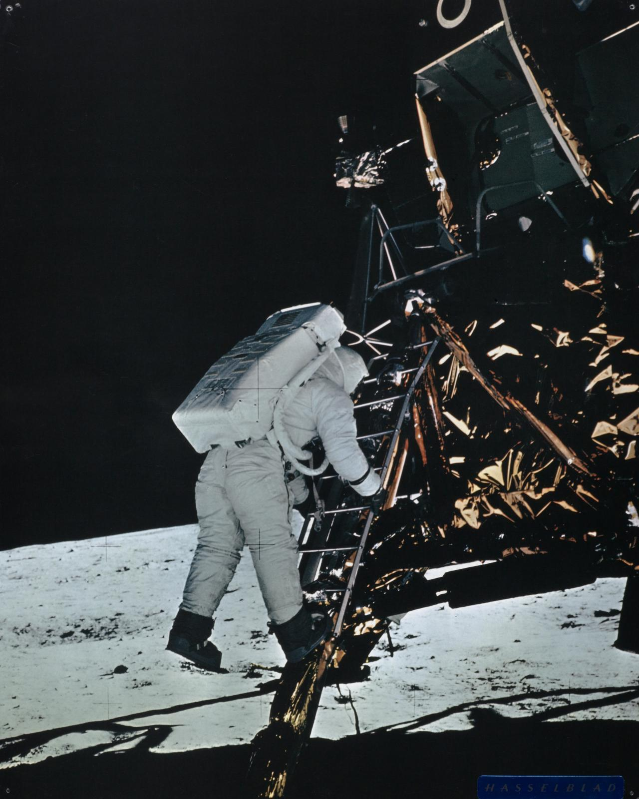 Edwin Aldrin about to jump from luna module ladder