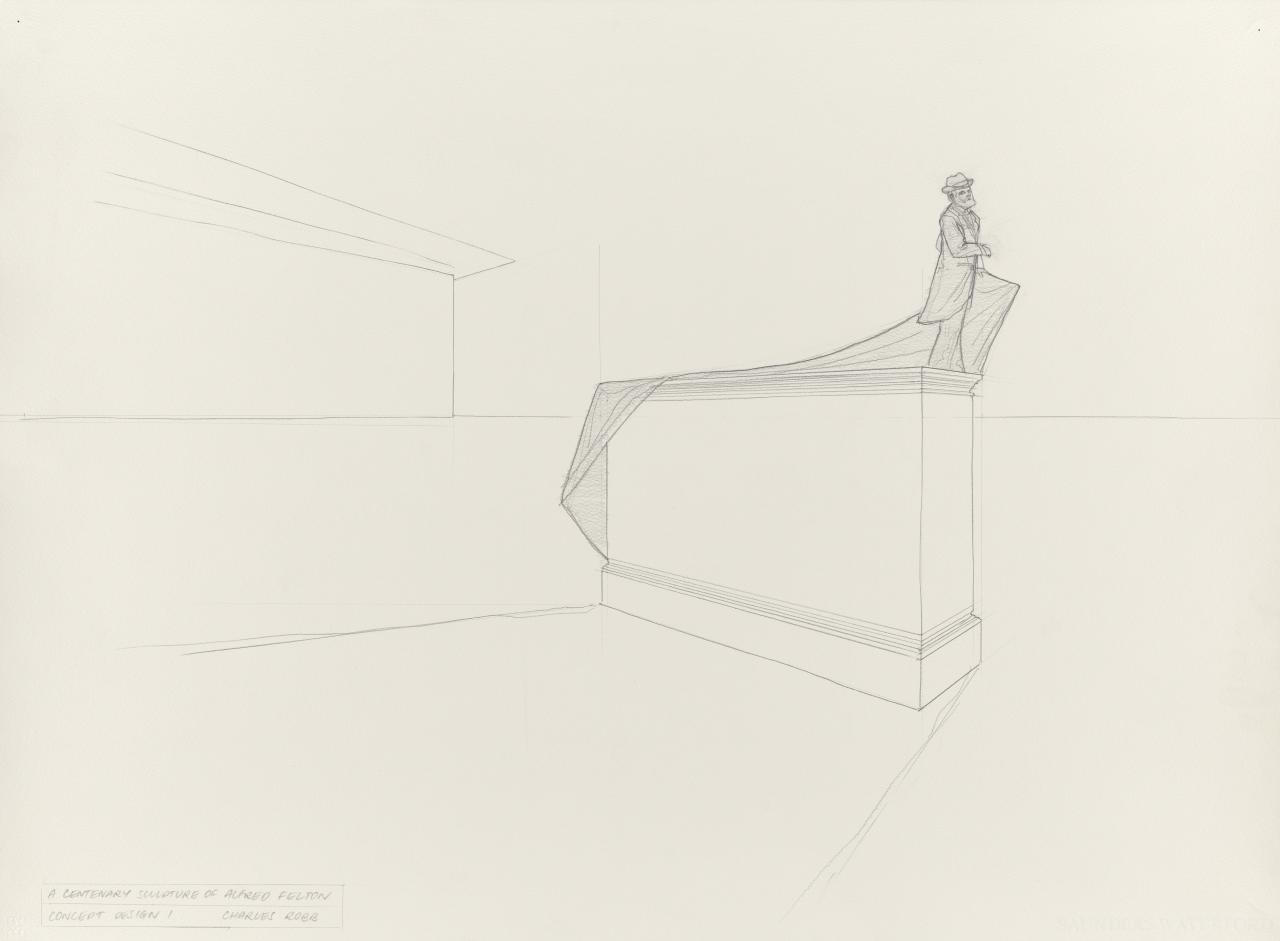 A centenary sculpture of Alfred Felton: Concept design 1