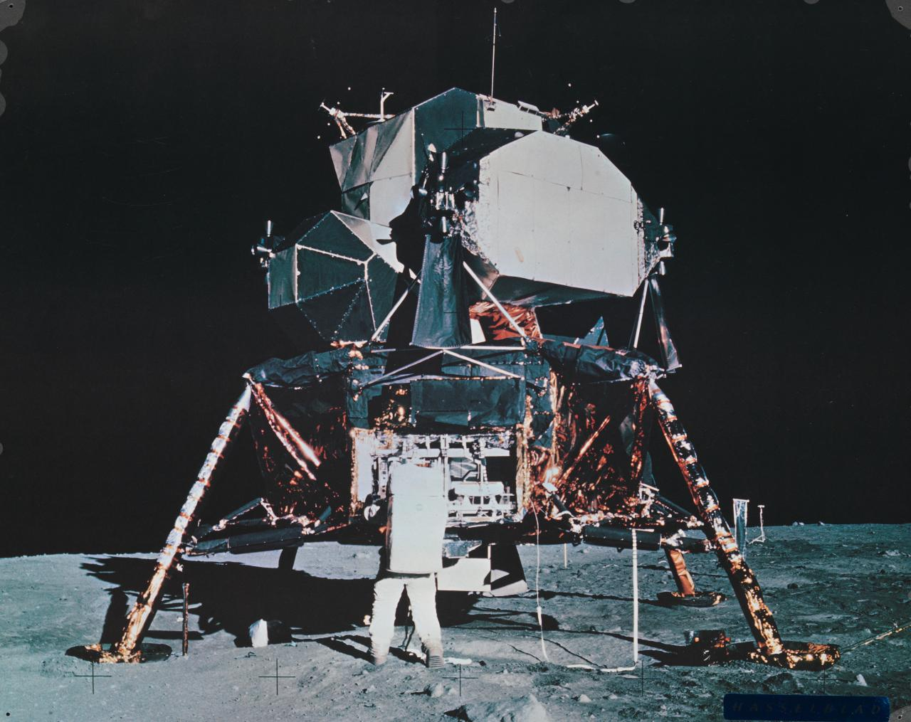 Aldrin and lunar module on moon