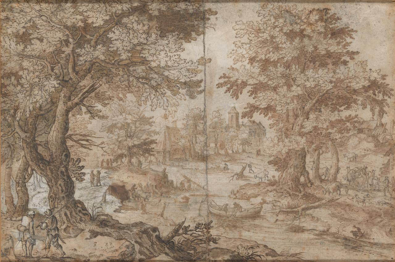 Landscape scene with numerous figures and animals