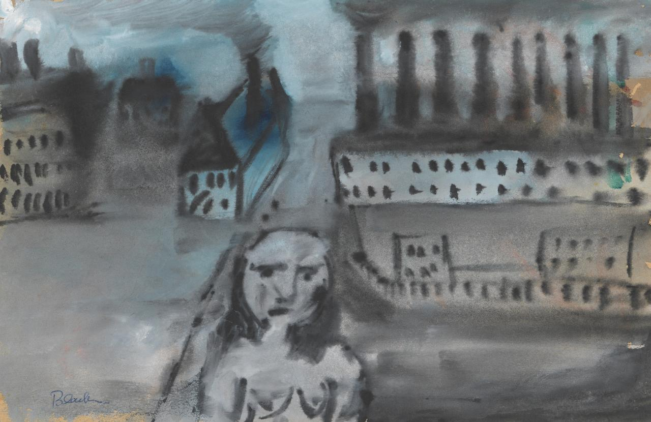 (Untitled) (Figure in industrial landscape)