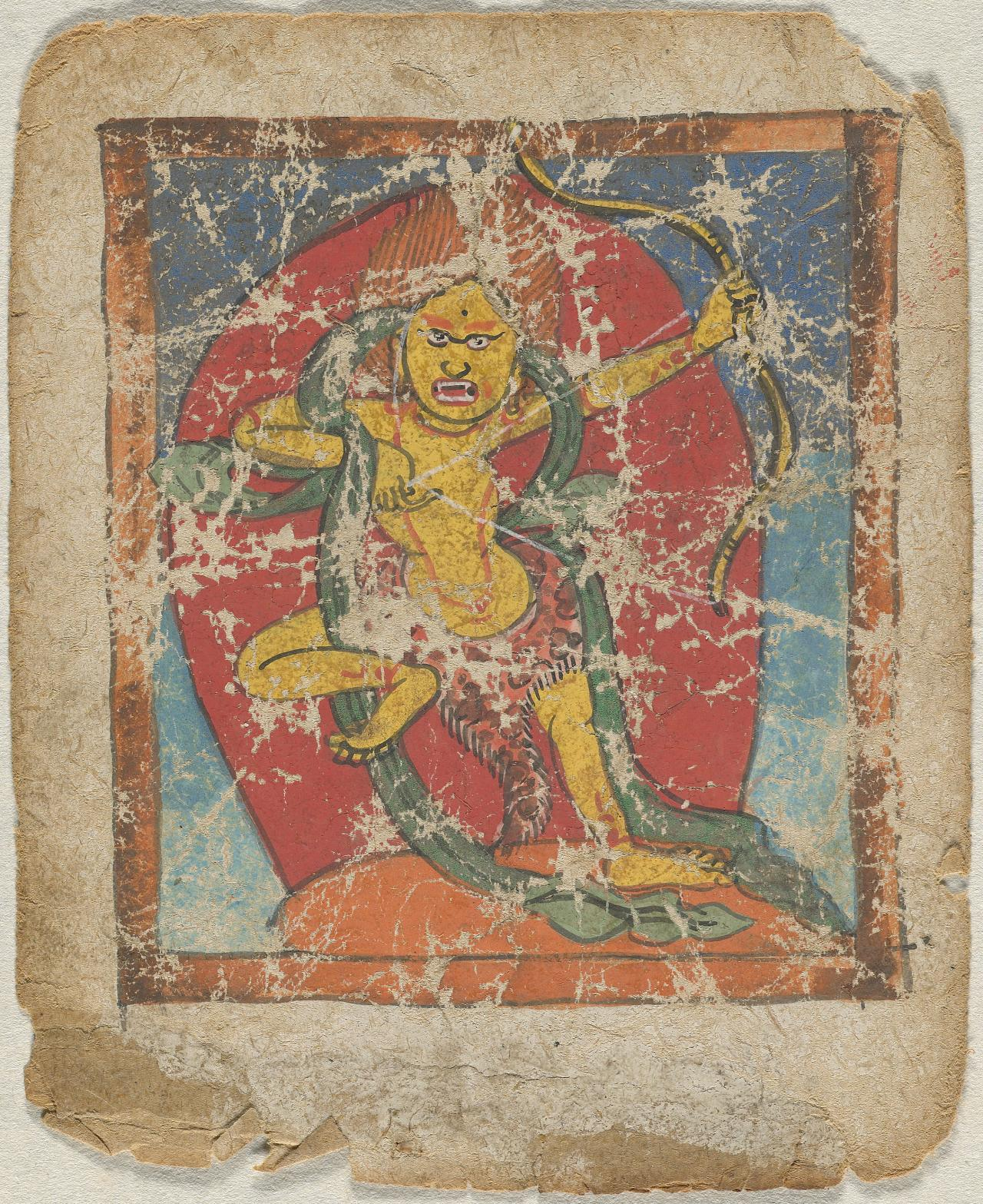Tibetan religious painting (tsakli) depicting deity of the Bon religion
