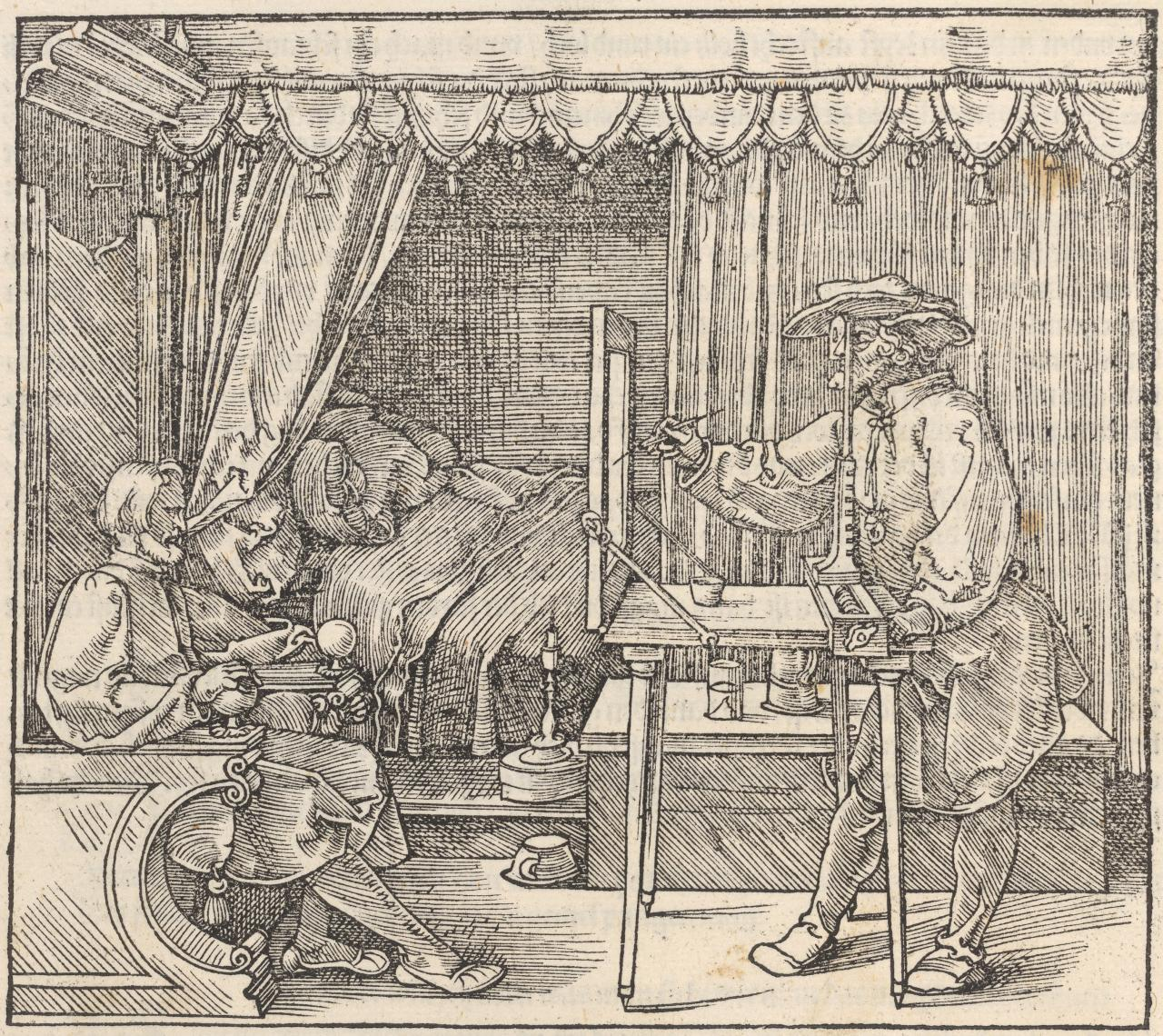 Draughtsman drawing a seated man