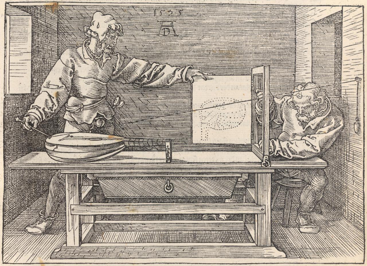 Draughtsman drawing a lute