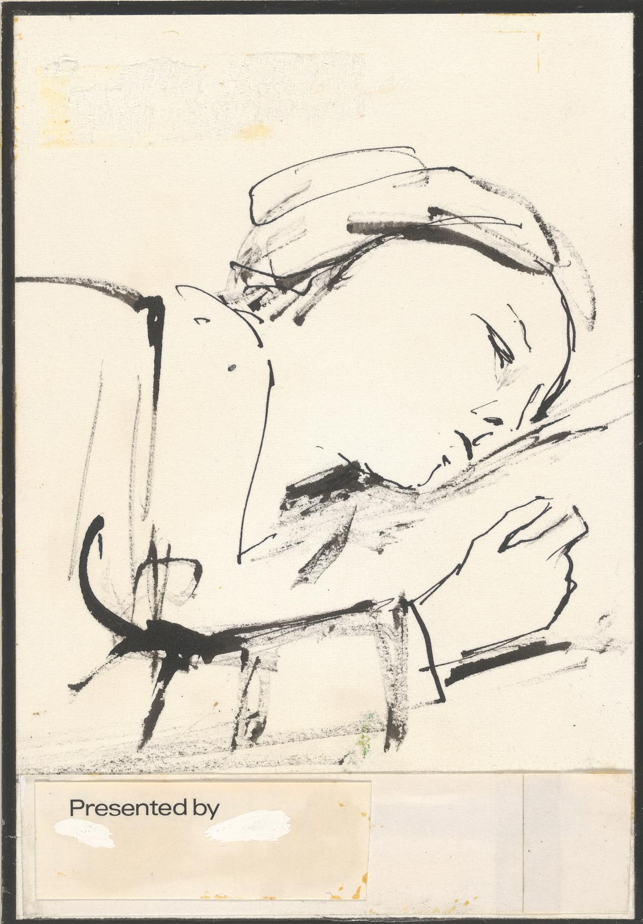 (Sleeping woman: Design for NGV Library bookplate)
