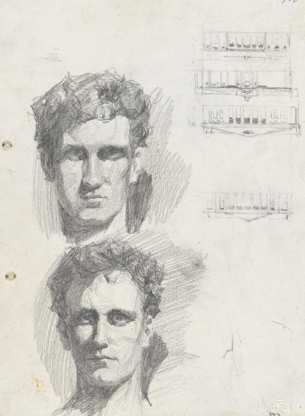 Two self portraits (and sketches of colonnaded facades)