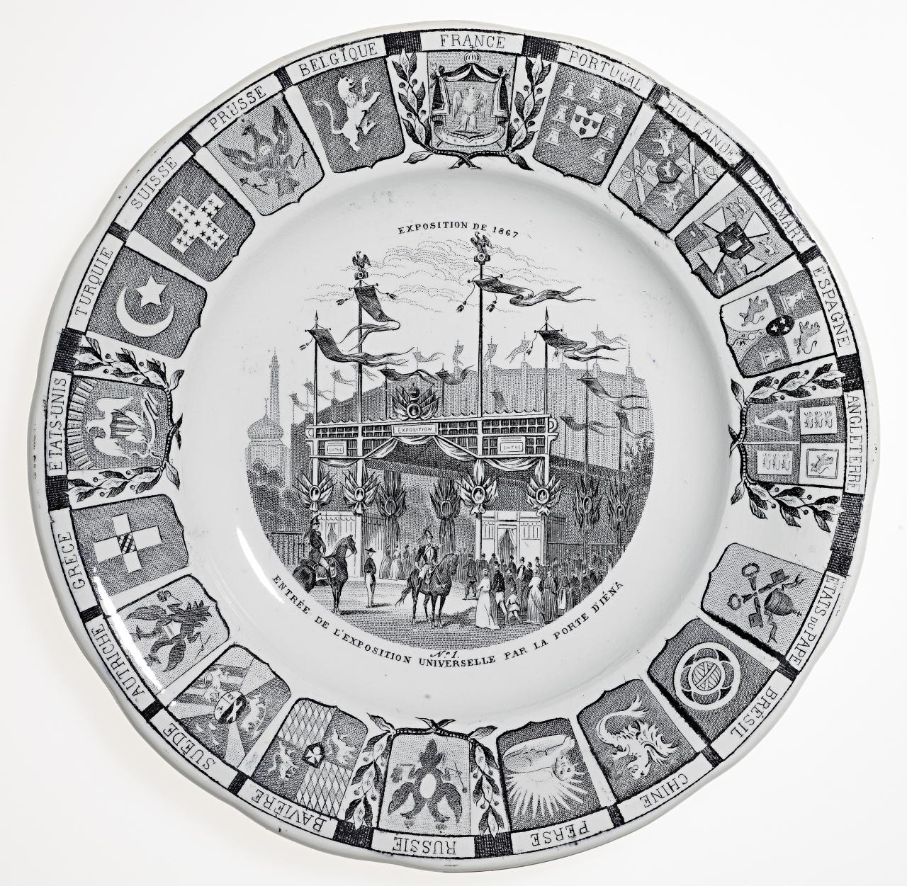 Universal Exposition, Paris. No. 1. Entrance of the Universal Exposition by the Jena Gate, commemorative plate