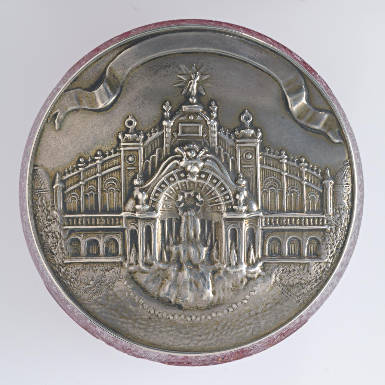 Souvenir of the Universal Exposition 1900. Alexander III Bridge, covered powder bowl