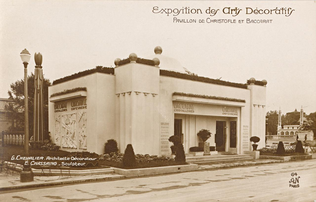 International Exposition of Decorative Arts and Modern Industry, Paris. Christoflé and Baccarat Pavilion, postcard