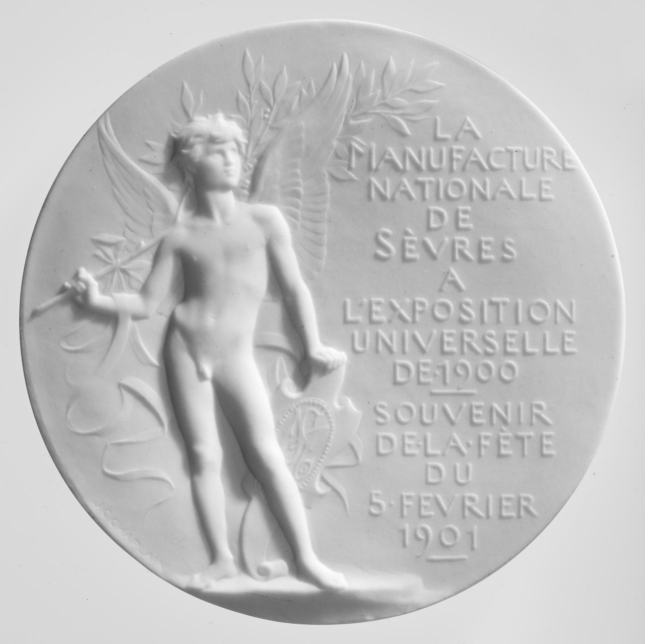 Sèvres Porcelain Factory at the Universal Exposition of 1900. Souvenir of the fair on 5 February 1901, commemorative plaque