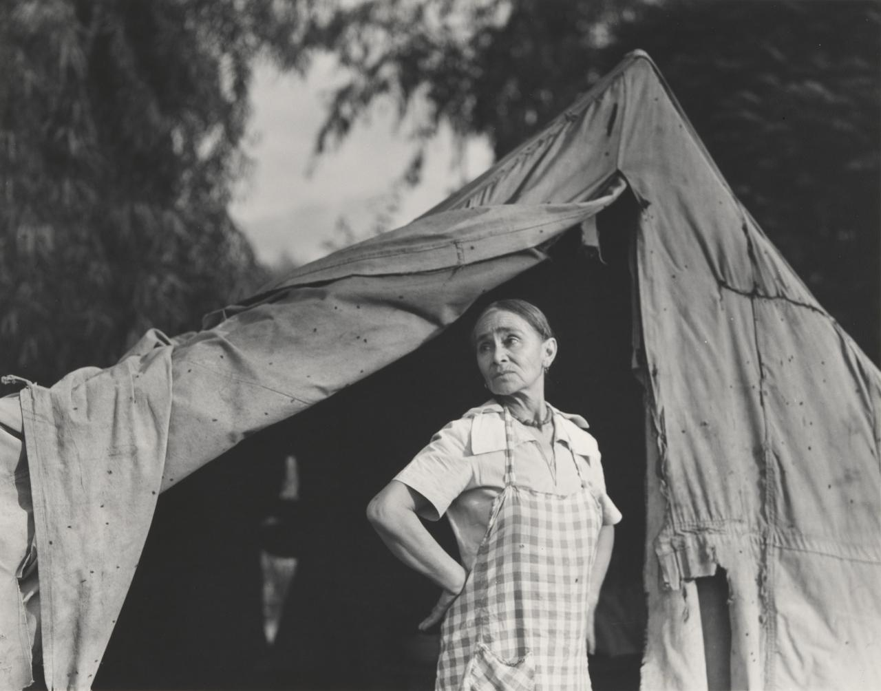 Greek migratory woman living in cotton camp, Exeter, California
