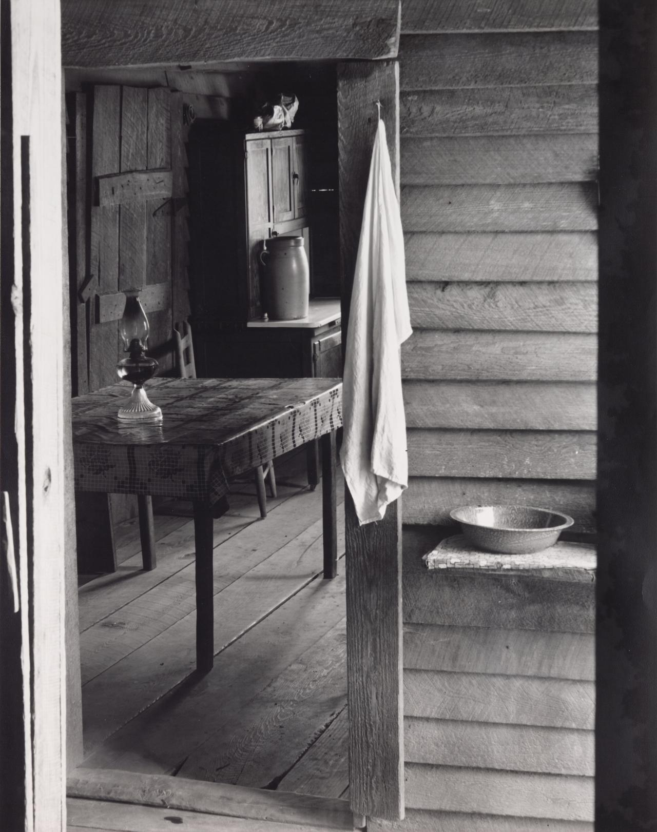 Washroom and dining area of Floyd Burroughs' home, Hale County, Alabama
