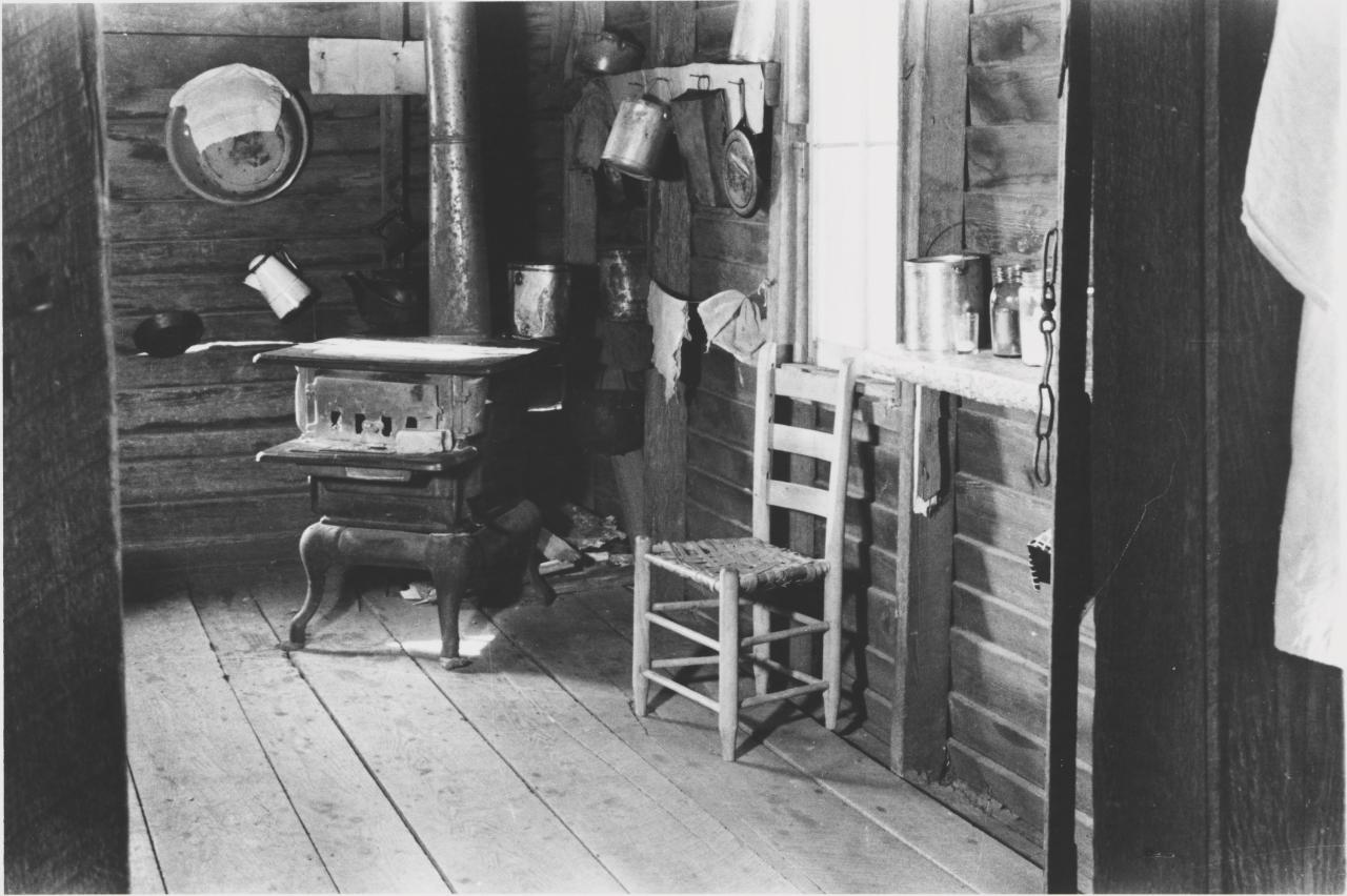 Kitchen in Floyd Burrough's home, Hale County, Alabama