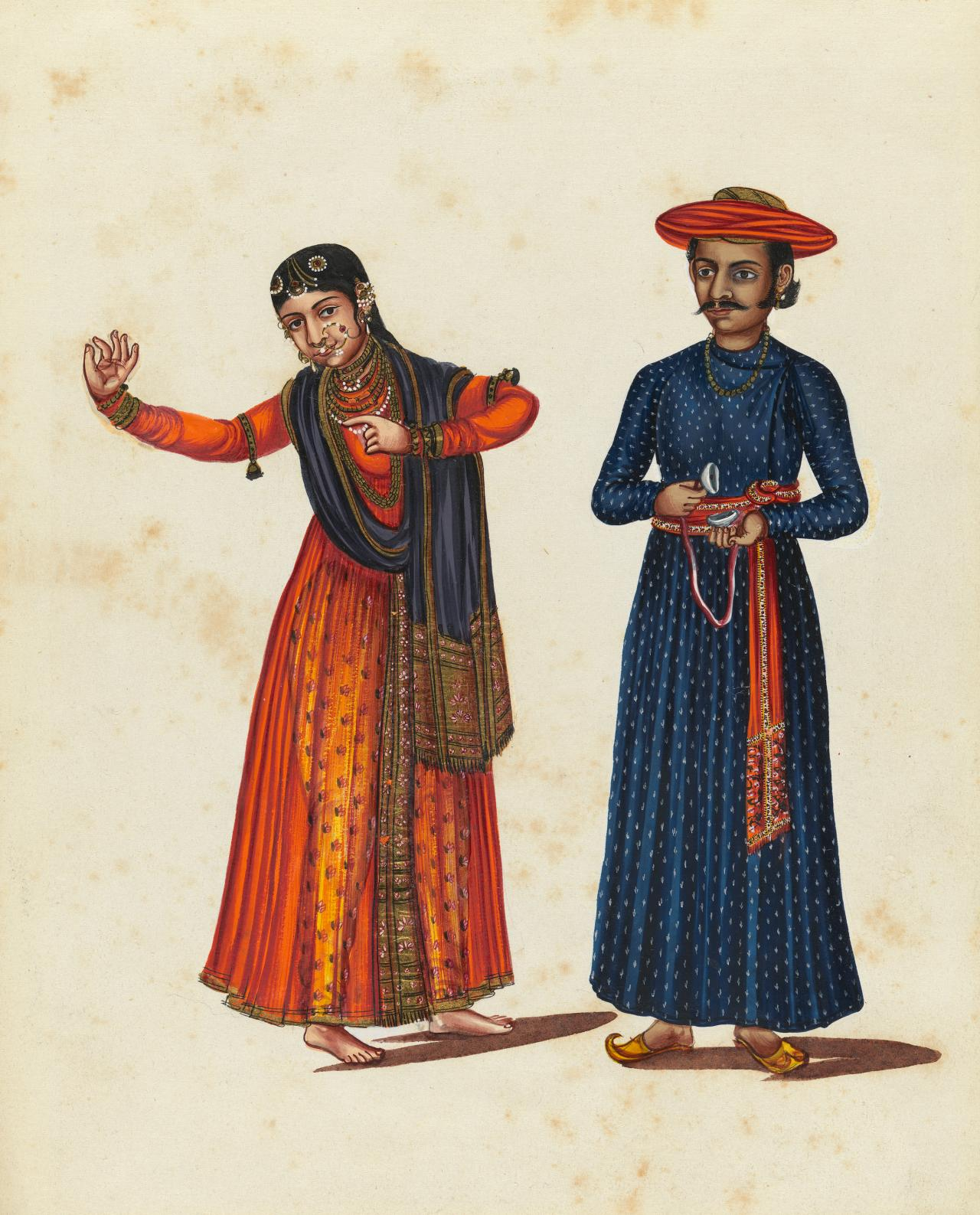 A nautch dancing girl with a musician