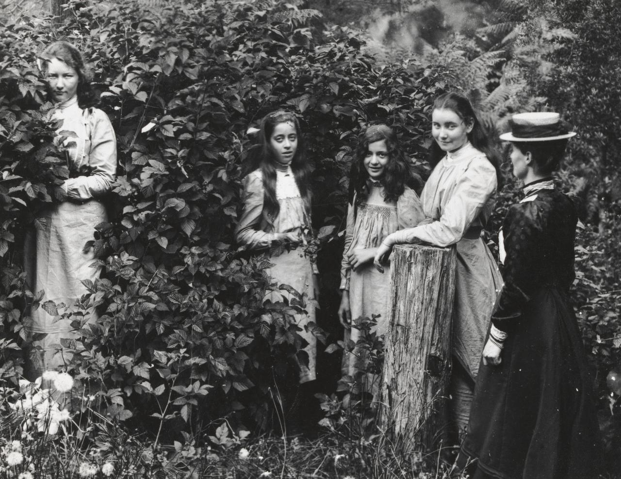 No title (Group of four girls and young woman in leafy bush)