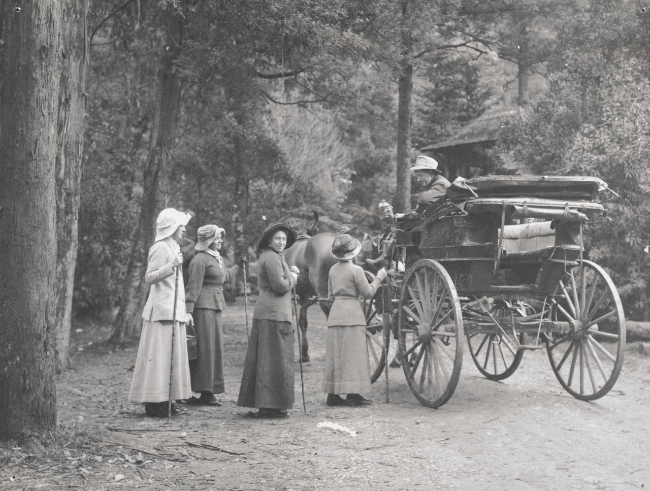 No title (Four women standing by buggy)